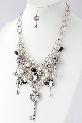 Filigree Key Charm Net Chain Necklace