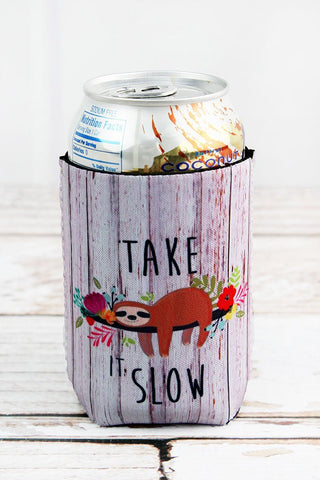 Take it Slow Sloth Can Sleeve Coozie