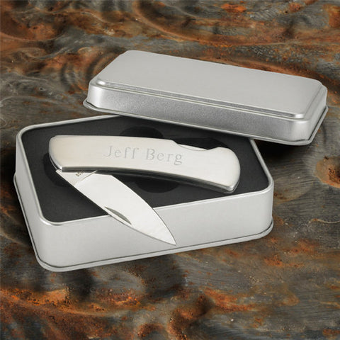Stainless Steel Lock Back Knife Personalized