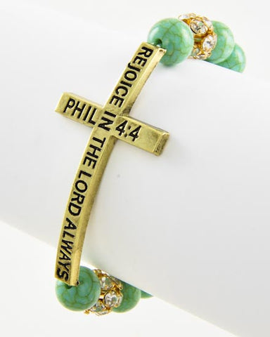Phillipians 4:4 Bible Verse Stretch Bracelet