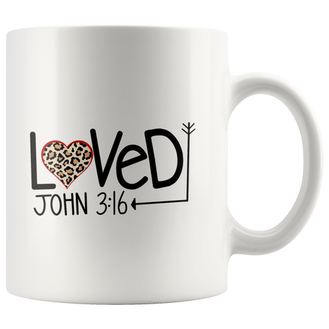 Loved John 3:16 Leopard Heart Christian Mug