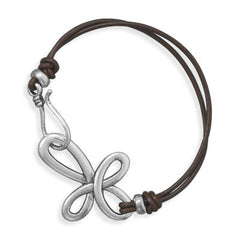 "7"" Double Strand Leather Cross Fashion Bracelet"