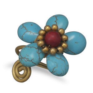 Howlite Flower Adjustable Brass Ring