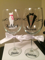 Wine Glasses Bride and Groom