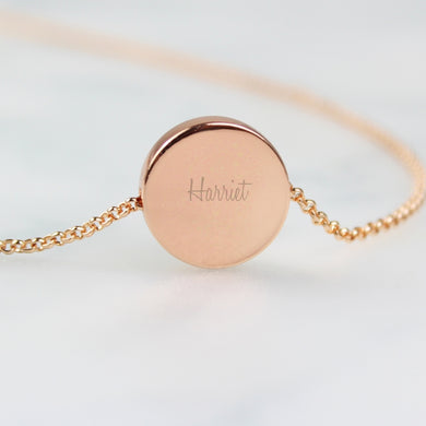Personalised Rose Gold Tone Disc Necklace