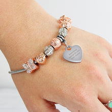 Load image into Gallery viewer, Personalised Rose Gold Charm Bracelet - Any Message - 18cm