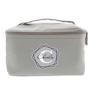 Personalised Geometric Initial Grey Make Up Wash Bag