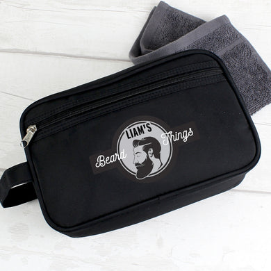 Personalised Beard Things Black Wash Bag