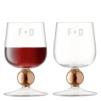 Monogrammed LSA Set Of Two Rose Gold Wine Glasses