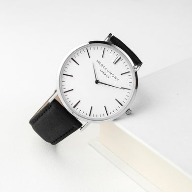 Men's Modern-Vintage Personalised Leather Watch In Black