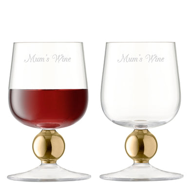 Personalised LSA Set Of Two Gold Wine Glasses