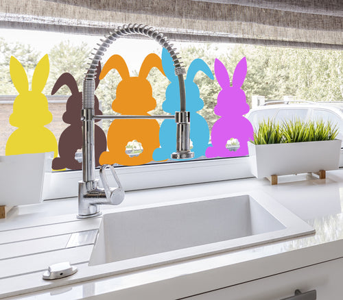 Coloured Easter Bunnies - Easter Vinyl Decoration