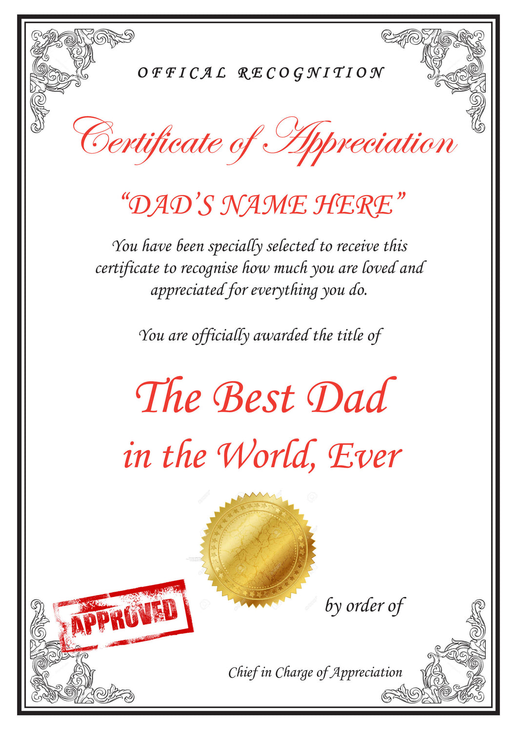 Personalised Appreciation Certificate A4 - Great Gift For Dad Father Mum Mother Nan Grandma Grandadd