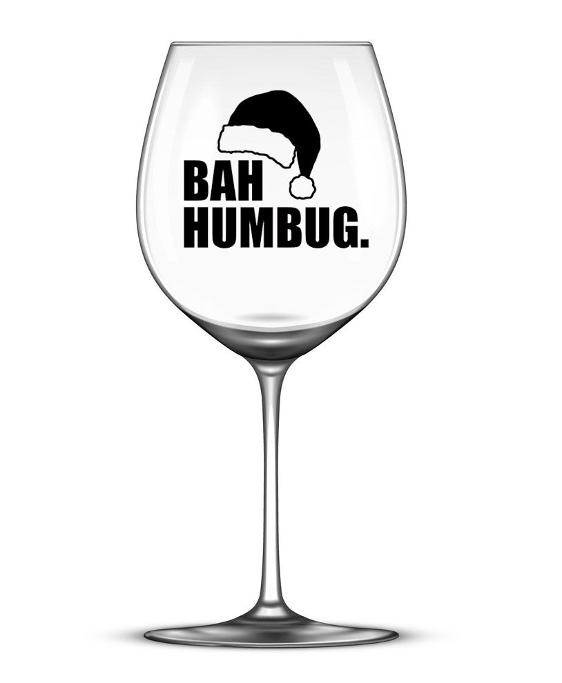 Bah Humbug -Set of 4 - Christmas Wine Glass Stickers