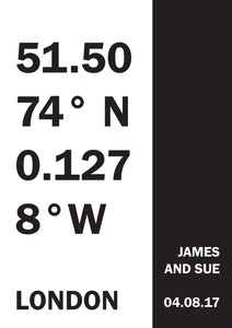 Personalised Date & Co-ordinates Print