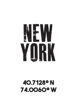 Load image into Gallery viewer, New York Co-ordinates Print