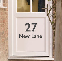 Load image into Gallery viewer, House Door Number and Street - Vinyl Sticker - Choose Colour and Size
