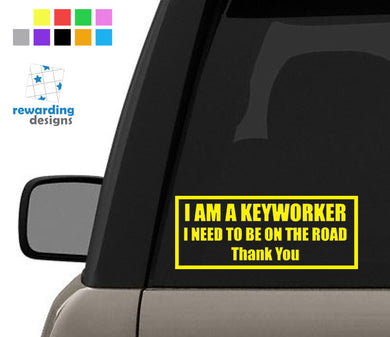 I Am A Keyworker Car Sticker - Nurse - Carer - Vinyl Car Decal