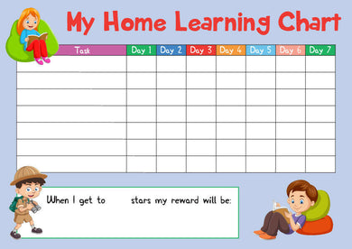 Blue Childrens Kids Home Learning Reward Chart - Daily Routine - Wipe Clean