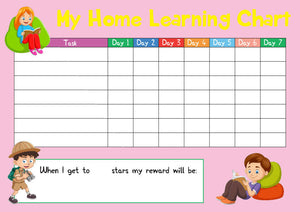 Pink Childrens Kids Home Learning Reward Chart - Daily Routine - Wipe Clean