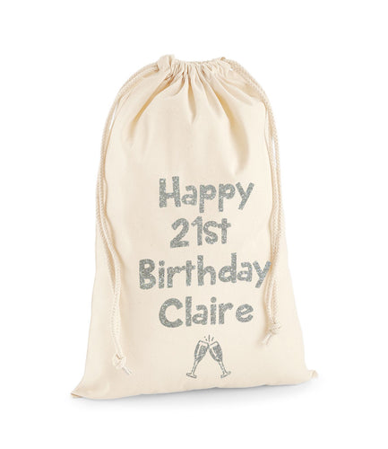 Personalised Name And Age Sack With Champagne Glasses -Birthday Sack