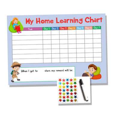 Blue Childrens Home Learning Reward Chart - Daily Routine - Wipe Clean