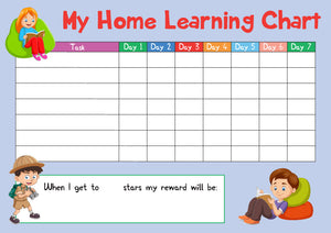 Blue Childrens Home Learning Reward Chart - Daily Routine - DOWNLOAD
