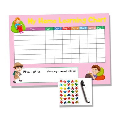 Pink Childrens Home Learning Reward Chart - Daily Routine - Wipe Clean