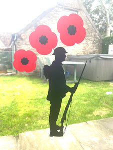 Soldier With Poppies - Window / Wall / Car Sticker