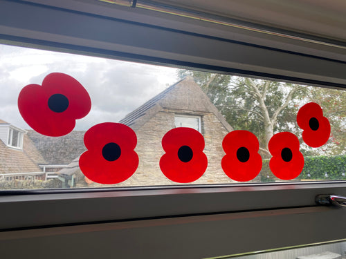 6 Large Poppies - Window / Wall / Car Sticker