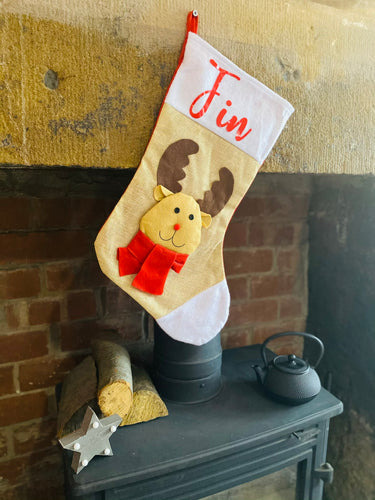 3D Reindeer Stocking With Personalisation - Christmas Gift