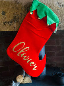 Elf Stocking With Personalisation - Christmas Gift