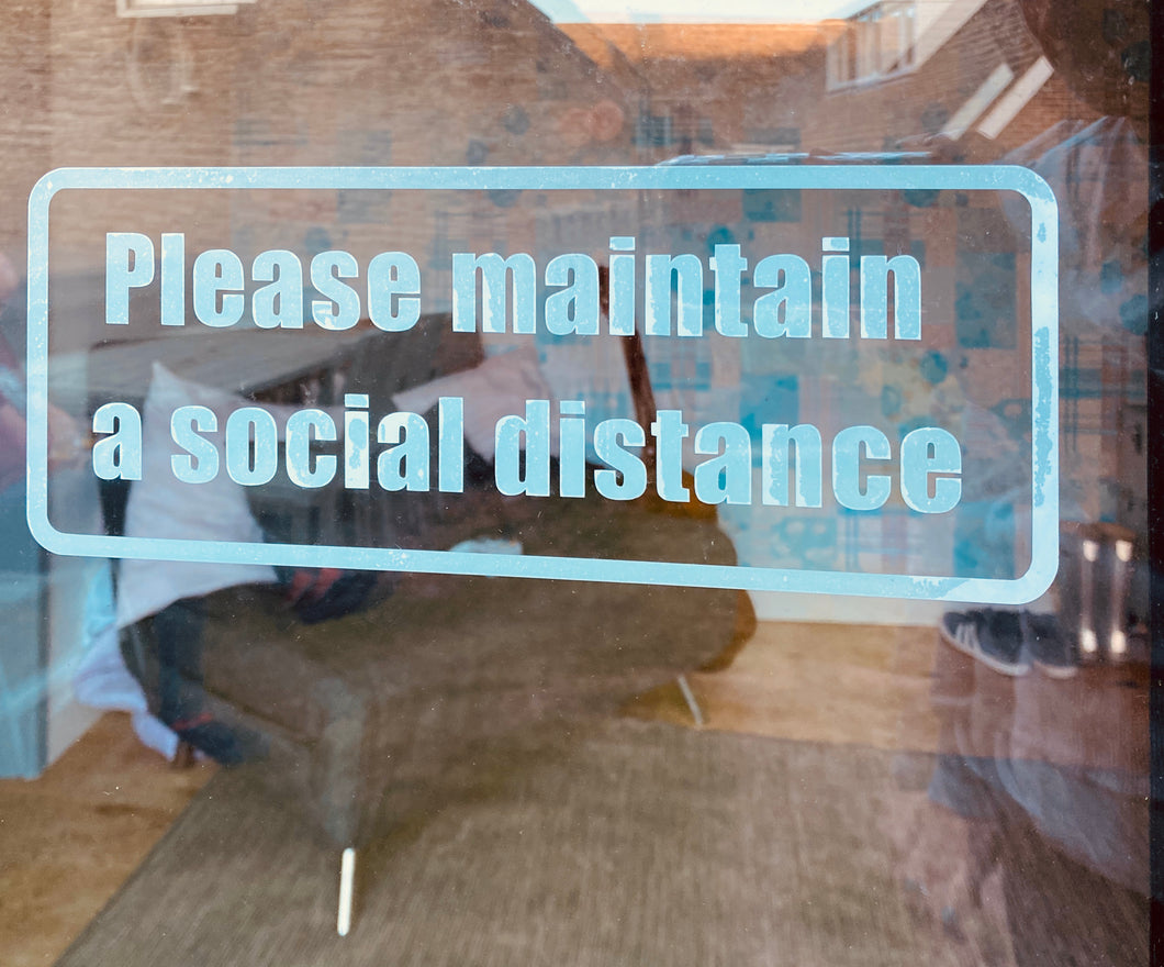 Please Maintain A Social Distance Sticker