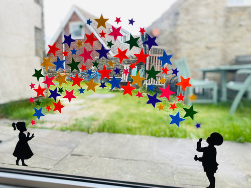 Girl and Boy Blowing Rainbow Star Stickers - Create Window Wall Glass Display 7 Colours