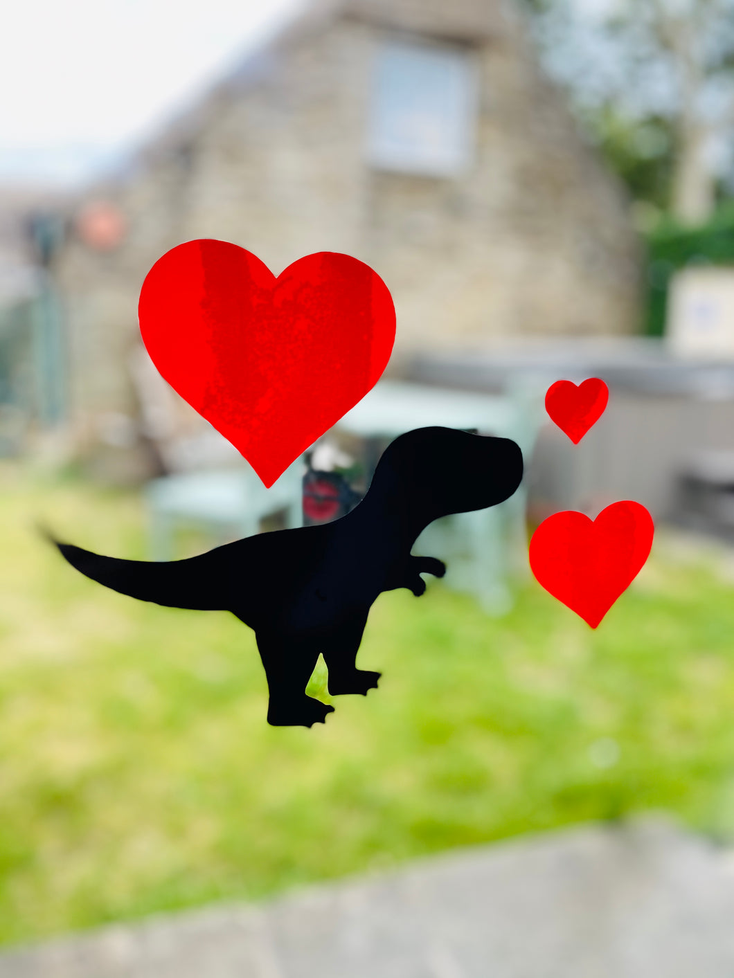 Dinosaur Silhouette with Hearts - Choose your dinosaur and heart colour