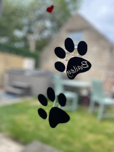 Dog Paw Prints with Name