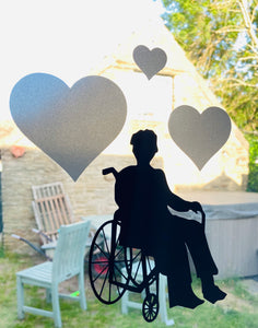 Elderly Silhouette With Hearts