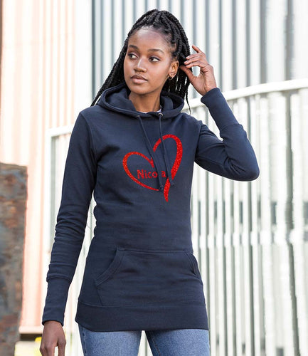 Name And Heart - Long Line Hoodie