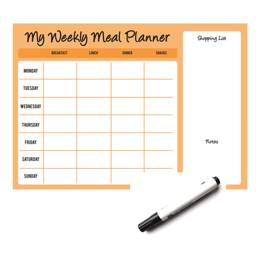 Weekly Wipe Clean Laminated A4 Meal / Food Planner - Orange