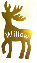 Load image into Gallery viewer, Reindeer or Santa Hat with Name - Vinyl Window / Wall Christmas Sticker