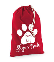 Load image into Gallery viewer, Personalised Pet Paws Off Treats Stuff Bag - Pet Gifts / Accessories