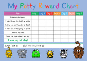 Blue Potty / Toilet Training Animal Design A4 Reward Chart