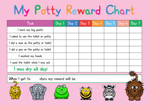Pink Potty / Toilet Training Animal Design A4 Reward Chart