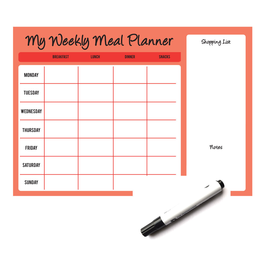 Weekly Wipe Clean Laminated A4 Meal / Food Planner - Red