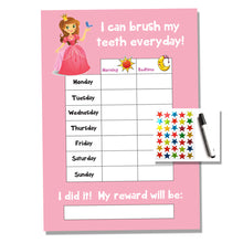 Load image into Gallery viewer, Princess Tooth Teeth Brushing Kids A4 Reward Chart