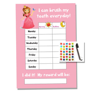 Princess Tooth Teeth Brushing Kids A4 Reward Chart