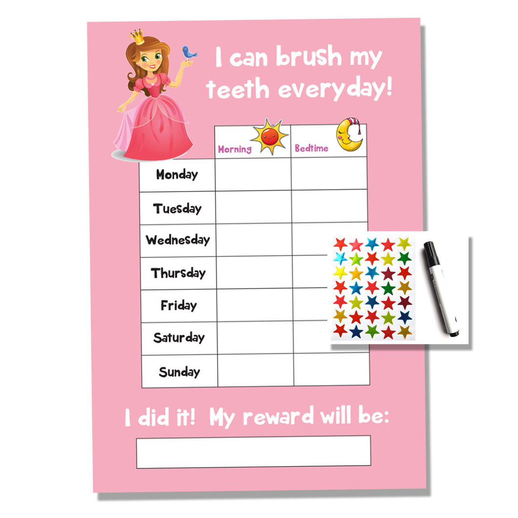 Princess Bedtime Kids A4 Reward Chart