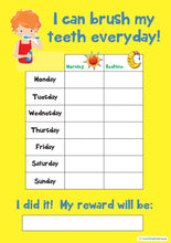 Load image into Gallery viewer, Tooth Teeth Brushing Kids A4 Reward Chart