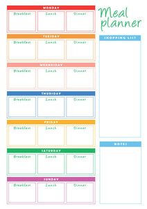 Weekly Reusable Three Meal  - A4 Meal Planner