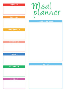 Weekly Reusable A4 Meal Planner